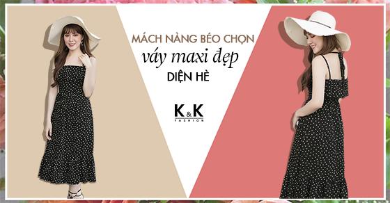 Váy maxi 2 dây họa tiết chấm bi KK73-20