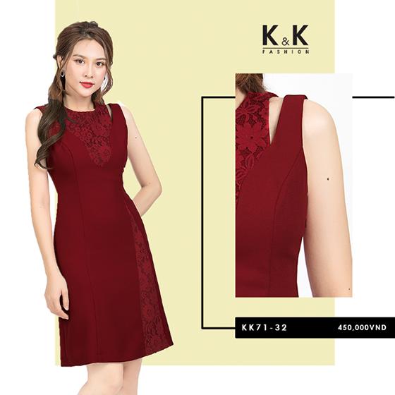 Đầm đỏ phối ren KK71-32