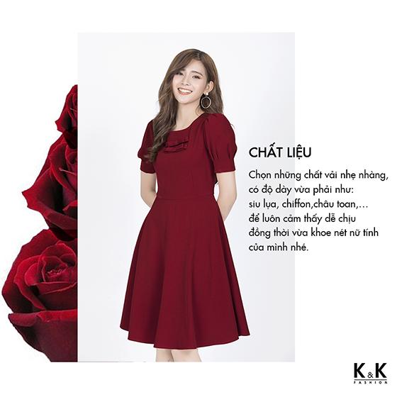 Đầm đỏ xòe tay bồng KK84-05
