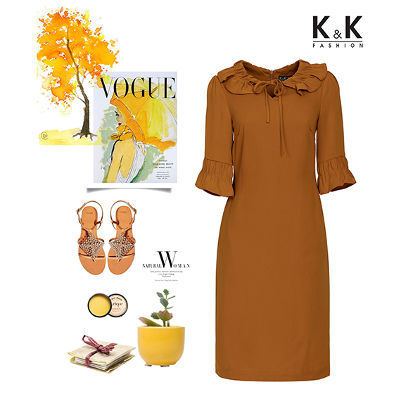 Đầm cam tay lỡ KK81-14