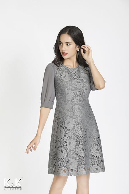 Đầm ren xám xanh tay lỡ HL06-37