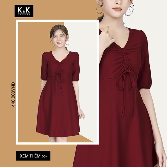 Đầm đỏ dây rút KK82-35