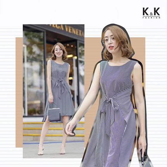 Đầm quần sọc trắng xanh HL04-05