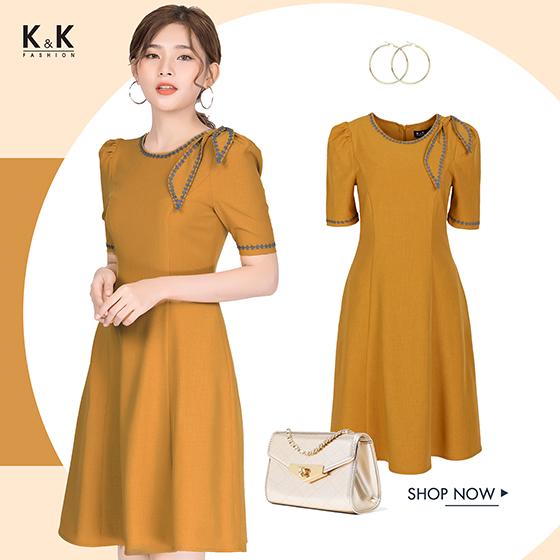 Đầm xòe vàng tay lỡ KK83-01