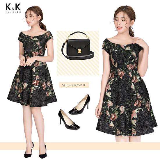 Váy xòe họa tiết hoa xinh xắn HL06-23