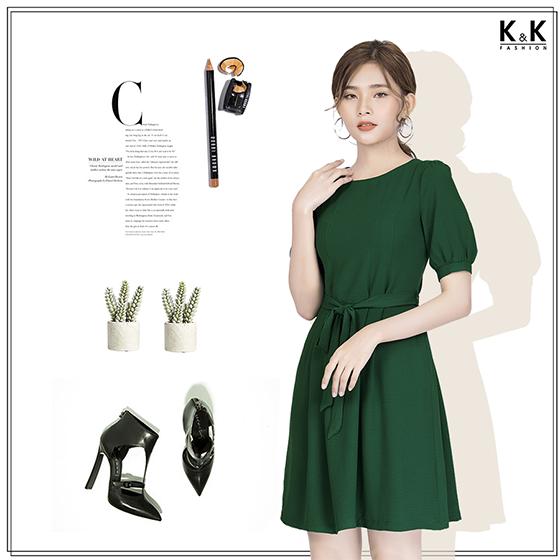 Đầm xanh tay lỡ KK82-19