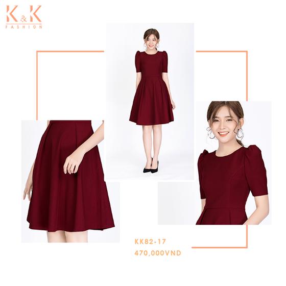 Đầm đỏ nhún vai tay lỡ KK82-17