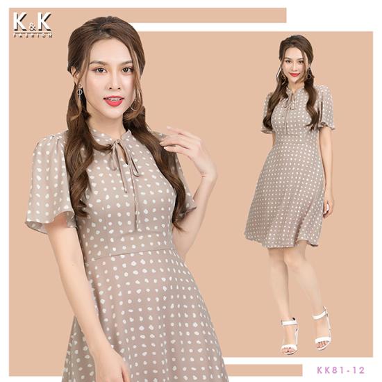 Váy xòe họa tiết chấm bi thắt nơ KK81-12