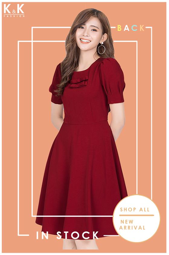Đầm đỏ xòe tay bồng KK85-40