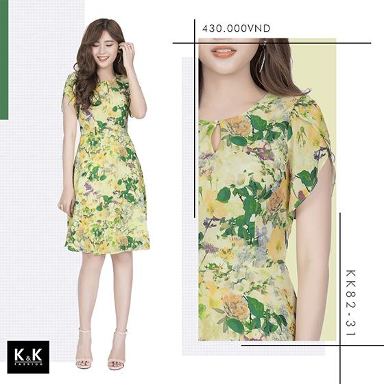 Đầm xanh xòe cổ giọt sương KK82-31