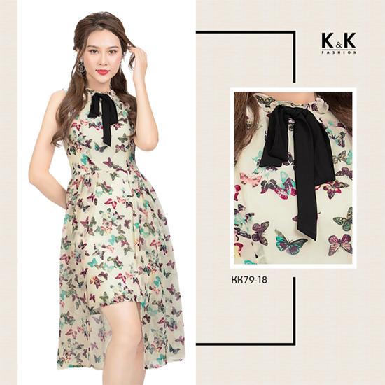 Váy họa tiết dáng dài xẻ tà quyến rũ KK79-18