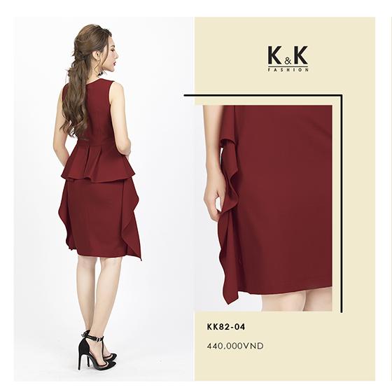 Đầm đỏ sát nách KK82-04