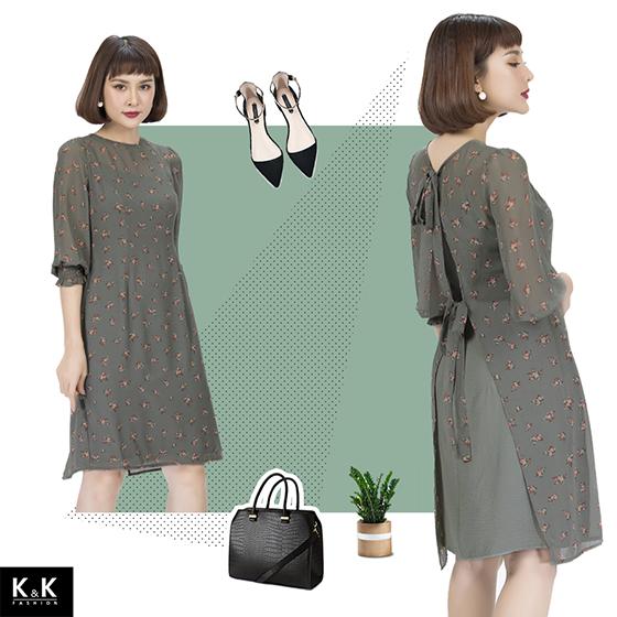 Váy liền hoa nhí nền xanh rêu KK83-28