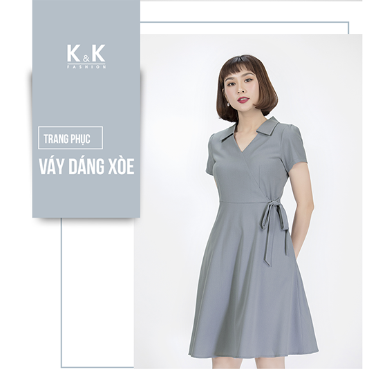 Váy liền xòe màu xám xanh KK84-14