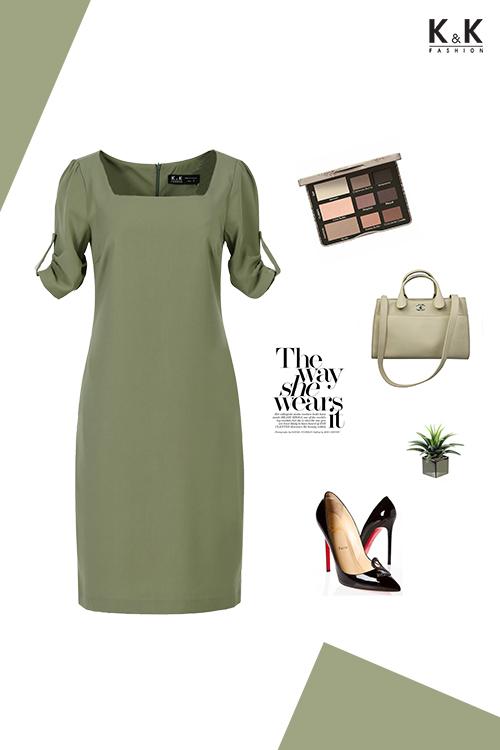 Đầm suông nhẹ cổ vuông HL06-30
