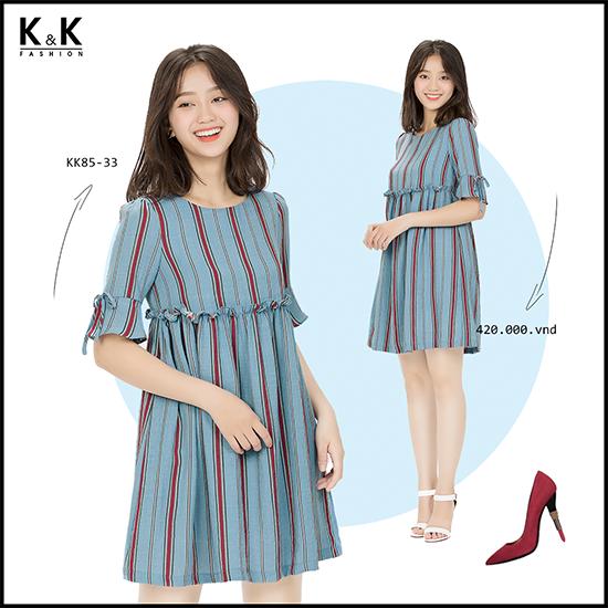 Đầm babydoll kẻ sọc KK85-33