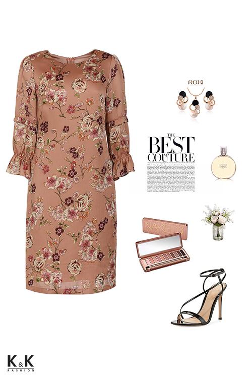 Đầm suông họa tiết hoa tay lỡ phối bèo KK84-39
