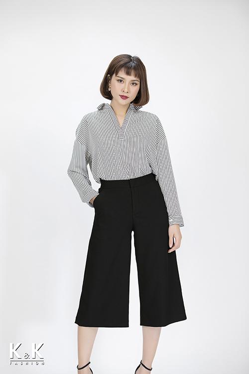 Set áo kiểu sọc đen trắng ASM02-24 + quần cullote đen QCS01-13
