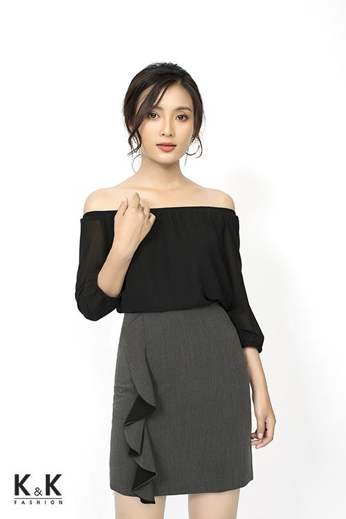 Set áo bẹt vai ASM01-34 + Chân váy ôm CV01-13