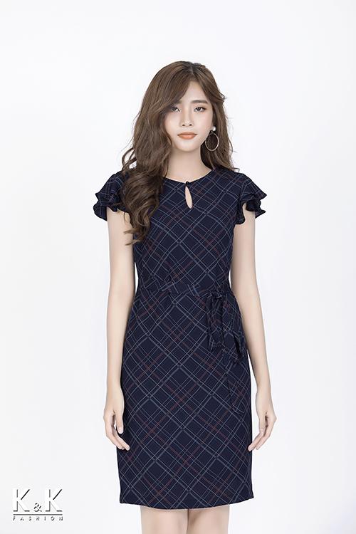 Đầm caro tay bèo thắt eo KK82-21