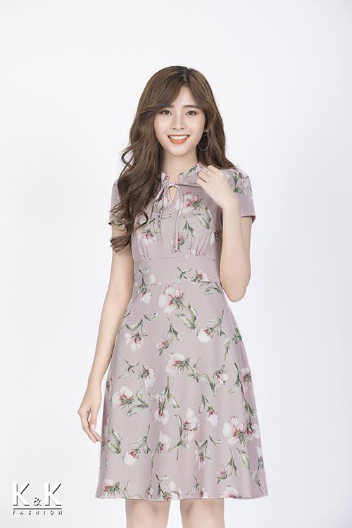Đầm hoa xòe thắt nơ cổ KK83-33