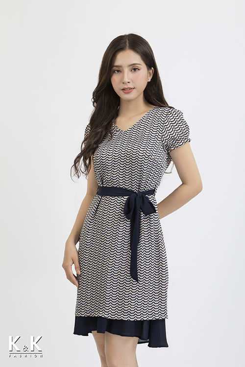 Đầm suông thắt nơ KK85-13
