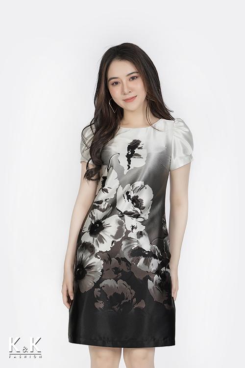 Đầm suông nền xám họa tiết nhiều màu KK85-30