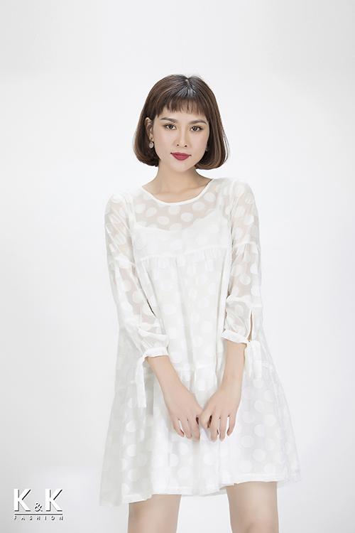 Đầm baby-doll họa tiết chấm bi xinh xắn KK85-39