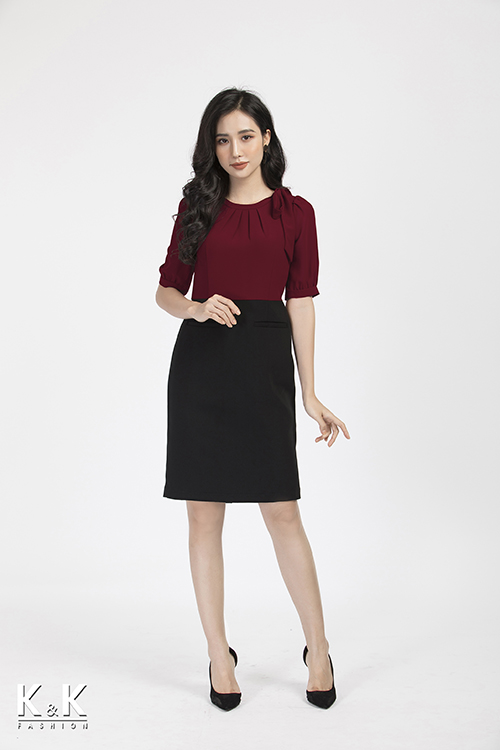 Đầm liền công sở phối màu KK86-09
