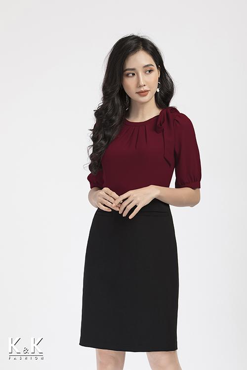 Đầm ôm phối nơ KK86-09