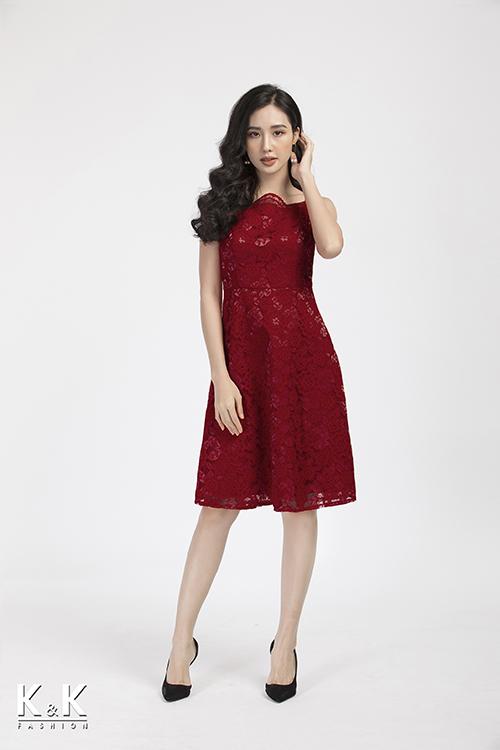 Đầm ren 2 dây màu đỏ KK87-11