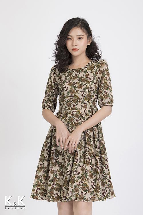 Đầm xòe hoa tay lỡ KK87-24